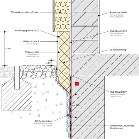 abdichtung sockel bodenplatte einschaliges mauerwerk mit wdv system bitumin 246 se alt abdichtung remmers sockelfiebel