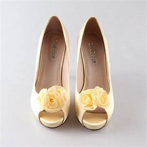 Soft yellow canary silk shoes with flower from ...