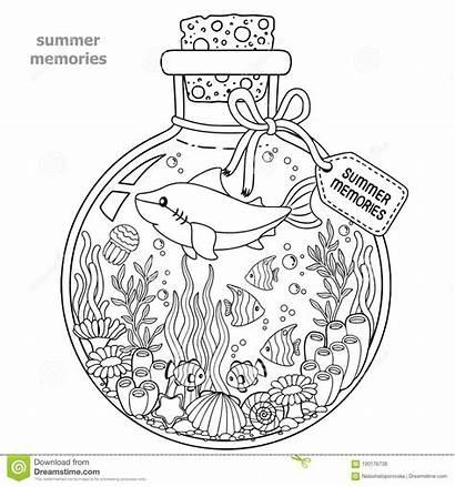 Coloring Bottle Memories Sea Adults Fish Vessel