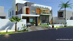 3d, Front, Elevation, Com, Beautiful, Modern, Contemporary, House, Elevation, 2015