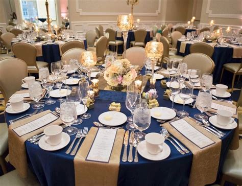 polished navy blue gold and blush wedding reception
