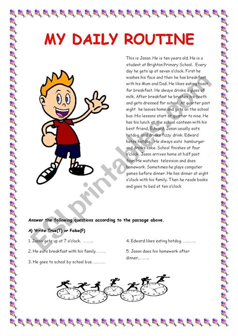 daily routine esl worksheet  gultopcu