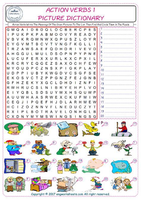 action verbs esl printable english vocabulary worksheets