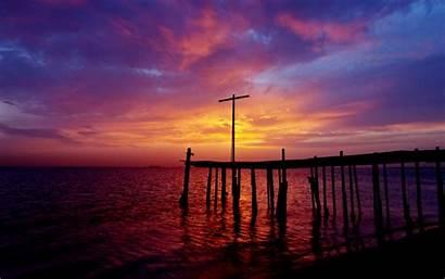 Pier Dock Sunset Night Ocean Clouds Sky