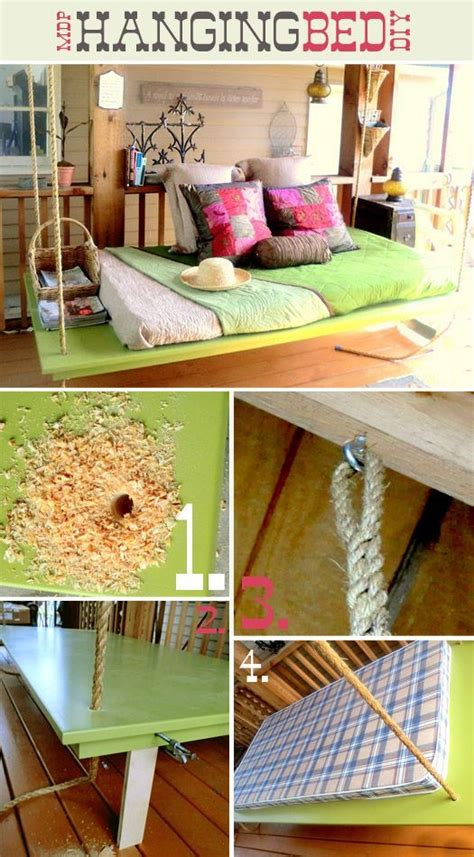 diy outdoor hanging bed hanging bed diy front porch patio ideas pinterest