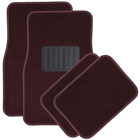floor mats car floor mats for auto 4pc carpet semi custom fit heavy duty w heel pad red ebay