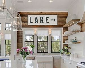 lake sign large canvas art lake house decor fixer upper With kitchen colors with white cabinets with lake george wall art