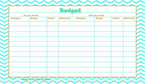 printable budget template  template