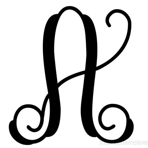 details  initial   monogram black metal cursive script letters  varieties initials