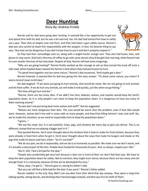 reading comprehension worksheet deer