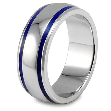 west coast jewelry men s stainless steel blue enamel groove domed ring