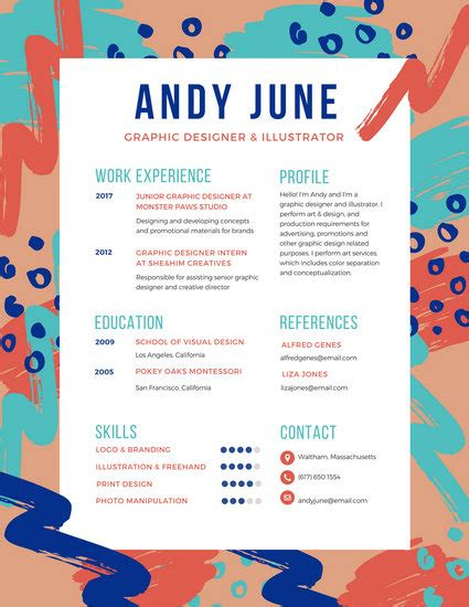 Resume Template Colorful Free by R 233 Sum 233 Templates Canva