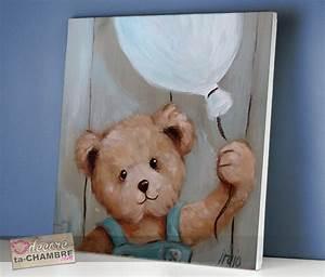 Tableau Chambre Bébé Garçon : tableau ourson ballon pour dco de bb vente tableau nounours pour chambre d 39 enfants ~ Teatrodelosmanantiales.com Idées de Décoration