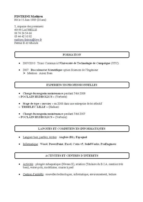 Cv Exemple Simple by Model De Cv Simple Word Cv Par Competences Exemples