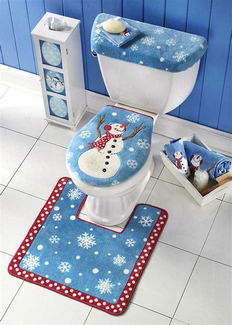 piece snowman toilet seat tank lid cover  floor mat