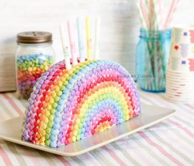 materiel de cuisine pro occasion gâteau arc en ciel en smarties jujube en cuisine