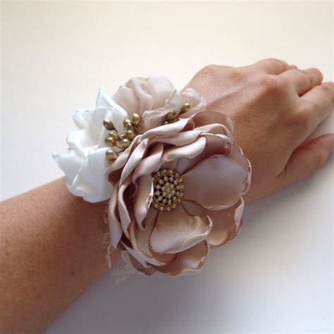 wrist corsage champagne ivory  gold fabric flower