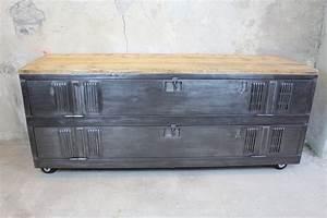 Meuble Tv Casier Industriel : meuble tv 180p loft industeel ~ Nature-et-papiers.com Idées de Décoration
