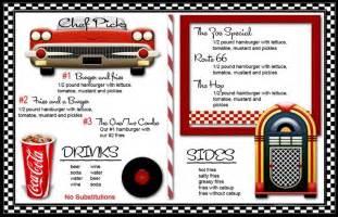 carlton invitations 50s diner menu templates 50 39 s themed home decor