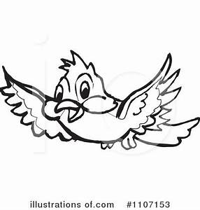 Birds Flying Black and White Clipart