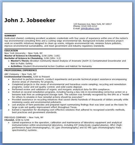 Chemist Resume by Chemist Resume Exles Creative Resume Design Templates