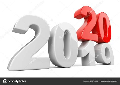 2019 2020 change concept Represents the new year white