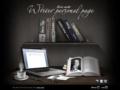 writer personal page website template easy flash