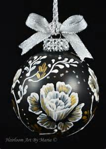 hand painted christmas ornaments rose pattern ornamentflower