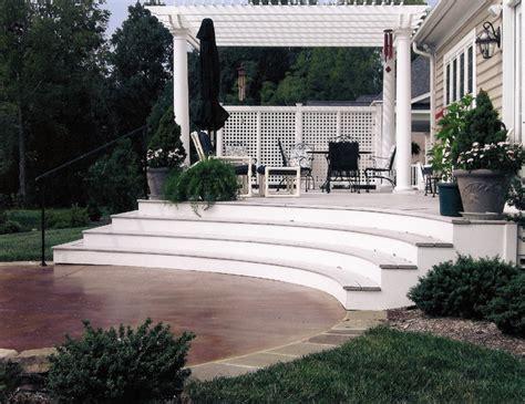 stained concrete patio deck pergola contemporary
