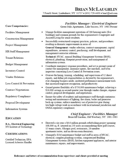facilities manager resume objective resume sle for facilities manager electrical engineer