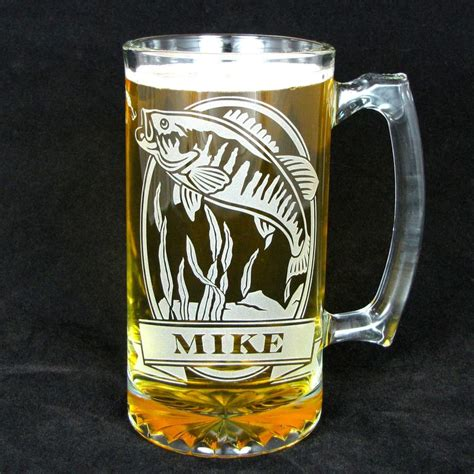 personalized fish beer stein etched glass smallmouth