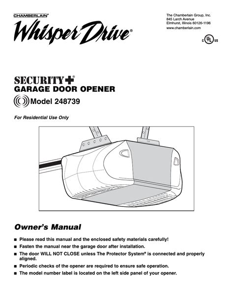 Chamberlain Garage Door Opener Whisper Drive Manual by Chamberlain Whisper Drive 248739 User Manual 40 Pages