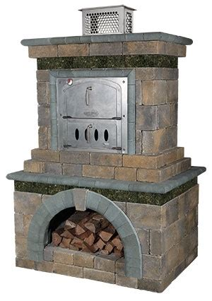 outdoor fireplace pizza oven combo