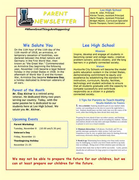 november parent newsletter lee high school huntsville