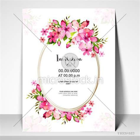 Pink Flowers decorated Invitation Card or Greeting Card