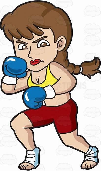 Kickboxing Vectortoons Cartoon Clipart Woman Ready Getting
