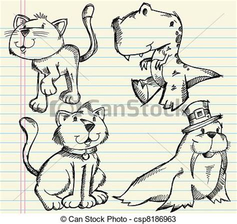 vectors  doodle sketch animals vector set cute