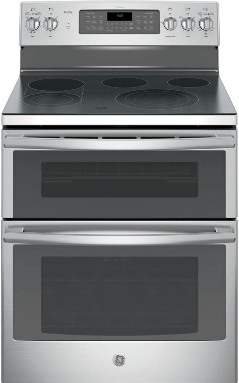 ge pbsjss   freestanding double oven electric range   smoothtop elements  cu