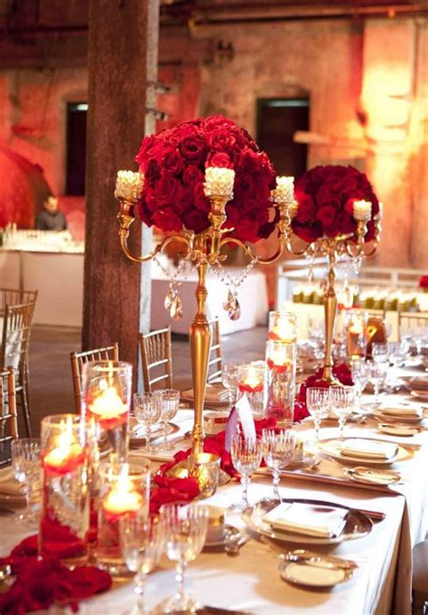 Stylish Red and Gold Wedding Reception Tablescapes Gold
