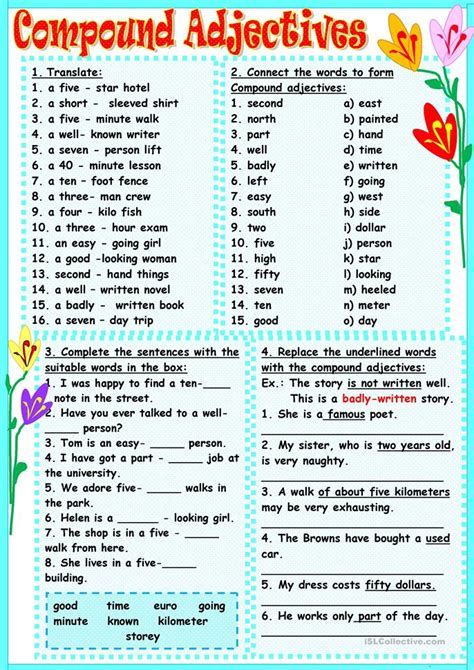 compound adjectives worksheet  esl printable