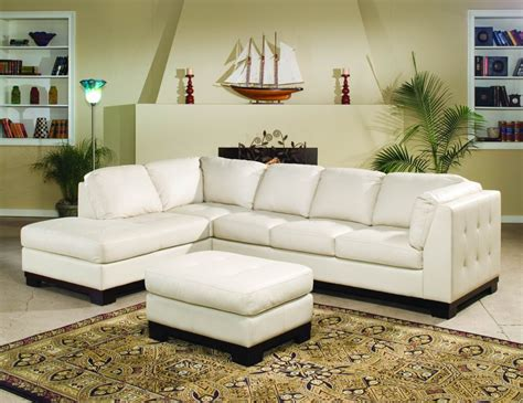 tufton ivory  leather sectional living room set
