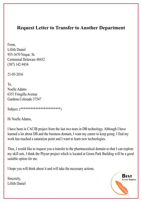 request letter  transfer format sample