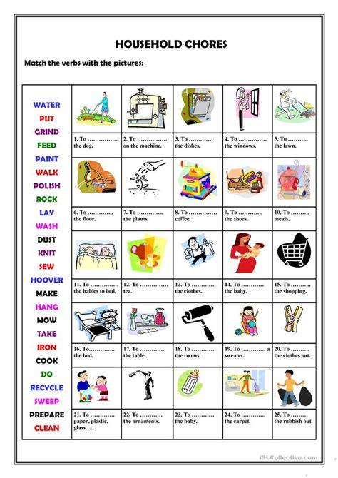 household chores worksheet  esl printable worksheets