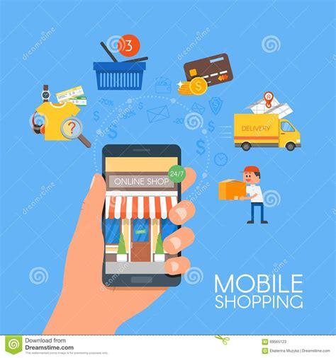 mobile shopping concept vector illustration