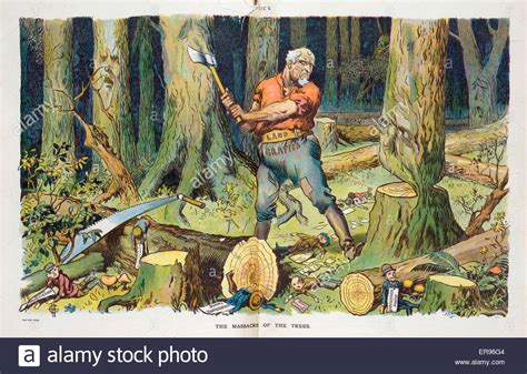 The Massacre Of The Trees. Illustration Shows A Man