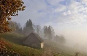 Photography, Landscape, Nature, Morning, Mist, Sunlight, Trees, Hut, Hills, Fall, Slovenia