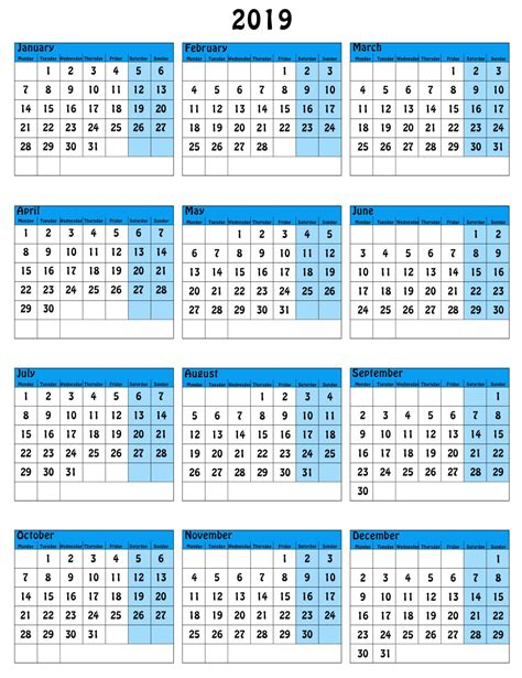 page yearly calendar