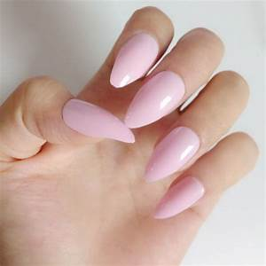 Sweet Light Pink Stiletto Nails Candy Color Acrylic False ...