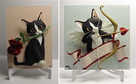 custom paper cat sculptures  valentines day