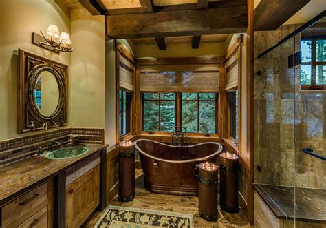 interior of shipping container homes 20 rustic bathroom designs with copper bathtub